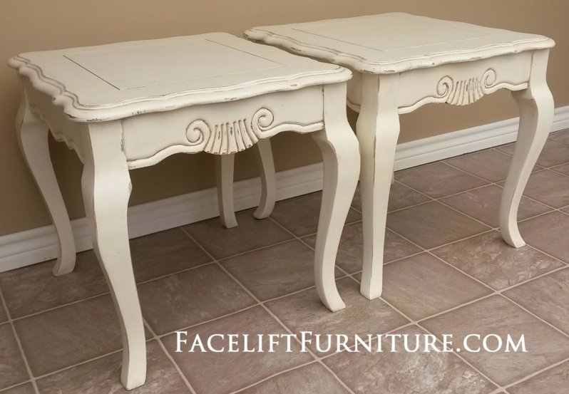 French End Tables In Distressed Off White With Tobacco Glaze. From Facelift  Furnitureu0027s End Tables