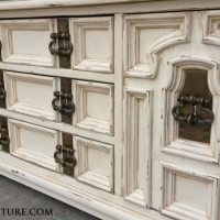 Extra Large Chunky Dresser in distressed Off White with Tobacco Glaze. Original vintage pulls! Nine drawers. From Facelift Furniture's Dressers collection.
