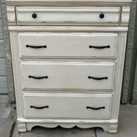 Chest of Drawers in Off White with Tobacco Glaze. From Facelift Furniture's Chests of Drawers collection.