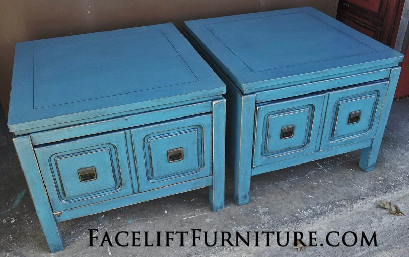 peacock blue furniture. distressed modern peacock blue end tables from facelift furnitureu0027s collection furniture