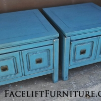 Distressed Modern Peacock Blue End Tables. From Facelift Furniture's End Tables collection.