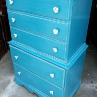 Antique Chest of Drawers in Peacock Blue, with White Glaze.  New crystal pulls. From Facelift Furniture's Chests of Drawers collection.