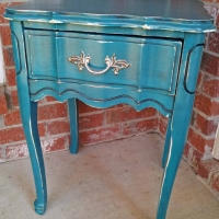 Distressed Peacock Blue Nightstand with Black Glaze.  From Facelift Furniture's Nightstands collection.