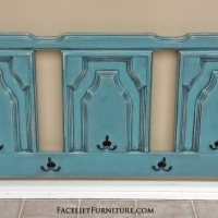 Queen headboard in Sea Blue and Black Glaze, repurposed into coat rack.