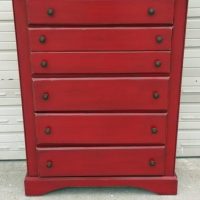 Chest of Drawers in Chili Pepper Red with Black Glaze. From Facelift Furniture's Red Refinished Furniture collection.