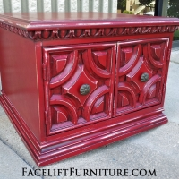 Square End Table in distressed Chili Pepper Red over White Primer, with Black Glaze. From Facelift Furniture's Red Refinished Furniture collection.