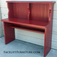 Pine Desk in distressed Barn Red with Black Glaze. From Facelift Furniture's Red Refinished Furniture collection.