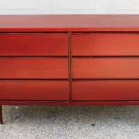 Mid-century Modern Dresser in Chili Pepper Red, with light Black Glaze. From Facelift Furniture's Red Refinished Furniture collection.