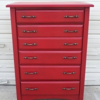 Chest of Drawers custom painted in Barn Red with Black Glaze. Original hardware. From Facelift Furniture's Red Refinished Furniture collection.