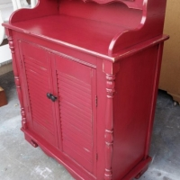 Secretary in distressed Red with Black Glaze. From Facelift Furniture's Red Refinished Furniture collection.