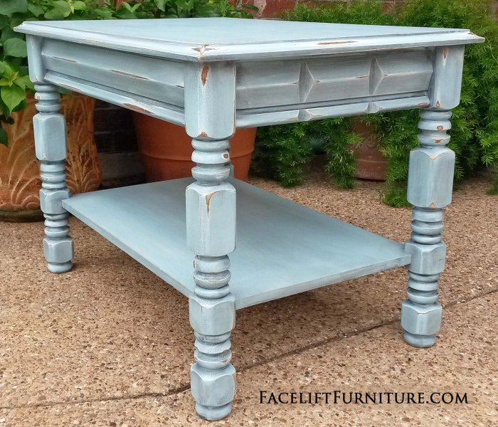 End Table In Distressed Robinu0027s Egg Blue With Black Glaze. From Facelift Furnitureu0027s  Robinu0027s Egg