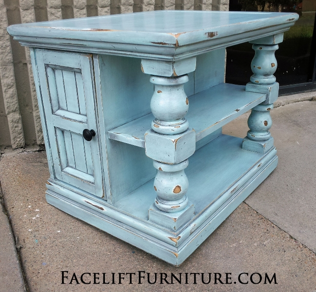 Charming Chunky End Table Distressed Robinu0027s Egg Blue With Black Glaze. Shelves And  Storage Area Behind