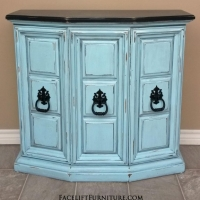 Wall Console in distressed Robin's Egg Blue with Black Glaze. Top and original pulls painted black. From Facelift Furniture's Robin's Egg Blue Furniture collection.