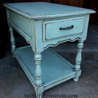 Chunky End Table in Robin's Egg Blue with Black Glaze. From Facelift Furniture's Robin's Egg Blue Furniture collection.
