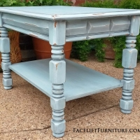 End Table in distressed Robin's Egg Blue with Black Glaze. From Facelift Furniture's Robin's Egg Blue Furniture collection.