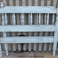 Twin bed in distressed Robin's Egg Blue with heavy Black Glaze. From Facelift Furniture's Robin's Egg Blue collection.