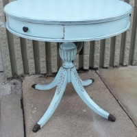 Duncan Phyfe Pedestal End Table in distressed Robins' Egg Blue with Black Glaze. Chunky End Table in Robin's Egg Blue with Black Glaze. From Facelift Furniture's Robin's Egg Blue Furniture collection.