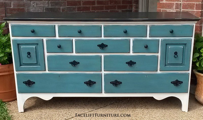 Beautiful Large Dresser In Off White, With Black Top And Sea Blue Drawers. Glazed  Black