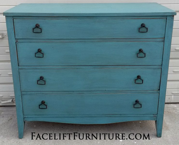 Antique Dresser In Distressed Sea Blue With Black Glaze New Pulls From Facelift Furniture S