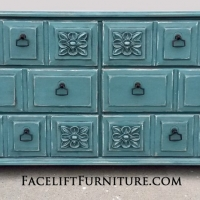 Ornate Dresser in Sea Blue with Black Glaze. New pulls. Ornate Dresser in Sea Blue with Black Glaze. New pulls. From Facelift Furniture's Sea Blue Furniture collection.