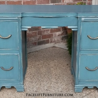 Vanity Desk in distressed Sea Blue with Black Glaze. Original vintage pulls. From Facelift Furniture's Sea Blue Furniture collection.