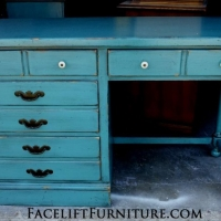 Ethan Allen desk in distressed Sea Blue with Black Glaze. Original pulls. From Facelift Furniture's Sea Blue Furniture collection.