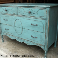 Rustic chippy distressed Sea Blue Dresser with new pulls. From Facelift Furniture's Sea Blue Furniture collection.
