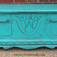 Small Rustic Cedar Chest in distressed Turquoise with Black Glaze. From Facelift Furniture's Turquoise Refinished Furniture collection.