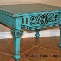 Ornate Turquoise End Table with Black Glaze. From Facelift Furniture's Turquoise Refinished Furniture collection.