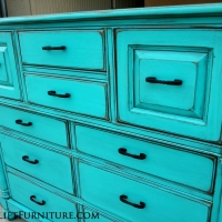 Tall Dresser in Turquoise with Black Glaze. New pulls. From Facelift Furniture's Turquoise Refinished Furniture collection.