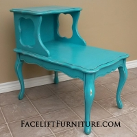 French End Table in distressed Turquoise with Black Glaze. From Facelift Furniture's Turquoise Refinished Furniture collection.