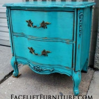 French Provincial Nightstand, in distressed Turquoise with Black Glaze, over white primer. From Facelift Furniture's Turquoise Refinished Furniture collection.