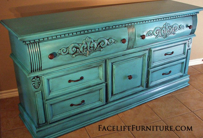 Ornate Dresser In Turquoise With Black Glaze. New Pulls. From Facelift  Furnitureu0027s Turquoise Refinished