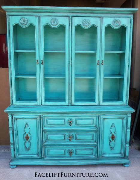 Exceptional ... Turquoise China Cabinet ...