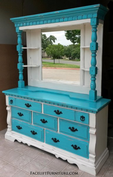 Captivating Chunky Dresser With Mirror Hutch In Distressed Off White U0026 Turquoise With  Black Glaze. Original