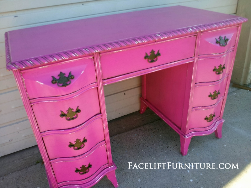 Antique Vanity Desk Custom Painted Hot Pink With Black Glaze Distressed Down To White
