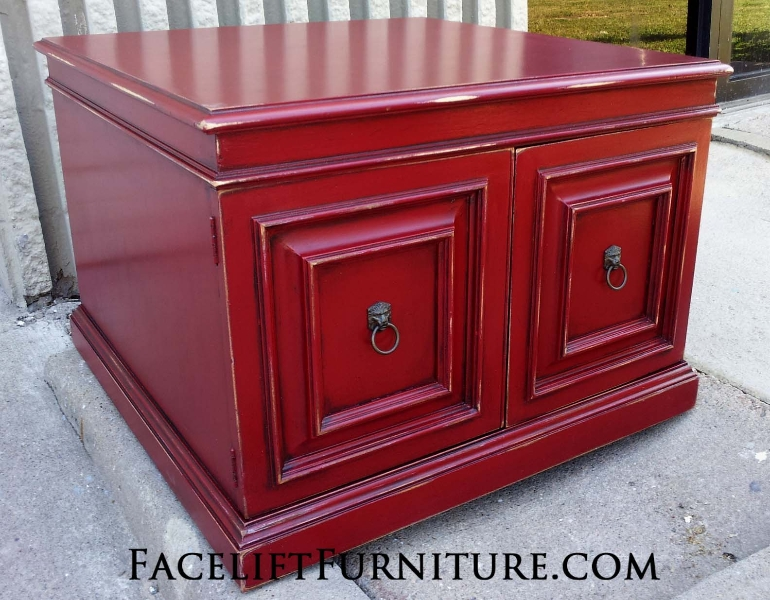 Large End Table In Distressed Chili Pepper Red, With Black Glaze Accenting  Detailed Areas.