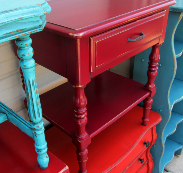 Elegant Medium Dresser In Distressed Barn Red With Black Glaze Red And Turquoise  Furniture