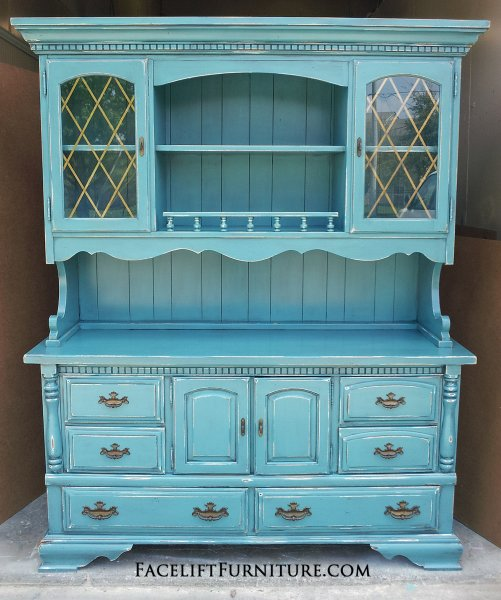 distressed blue furniture. Large Hutch In Distressed Sea Blue With Black Glaze. Original Hardware. From Facelift Furniture\u0027s Furniture R
