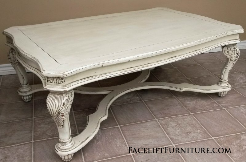 Ornate Coffee Table In Distressed Off White With Espresso Glaze From