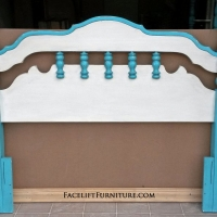 Chunky Queen Headboard in distressed Turquoise and Off White with Black Glaze. Will also fit a full sized bed.