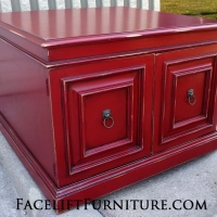 Large End table in distressed Chili Pepper Red, with Black Glaze accenting detailed areas. Could be repurposed as a small coffee table. Lots of storage inside.