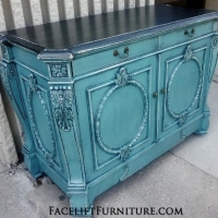 Ornate Sea Blue Buffet with Black Glaze.   From Facelift Furniture's DIY Inspiration album.