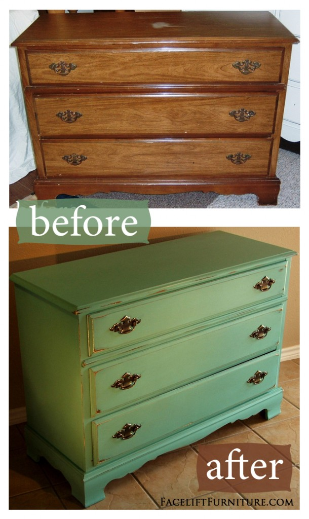 Jade Distressed Dresser - Before & After | Facelift Furniture