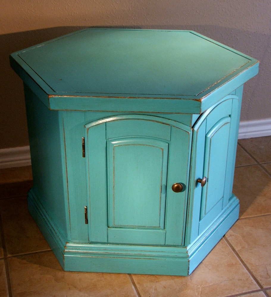 Turquoise Hexagon End Table with Tea Stained Glaze - Facelift ...