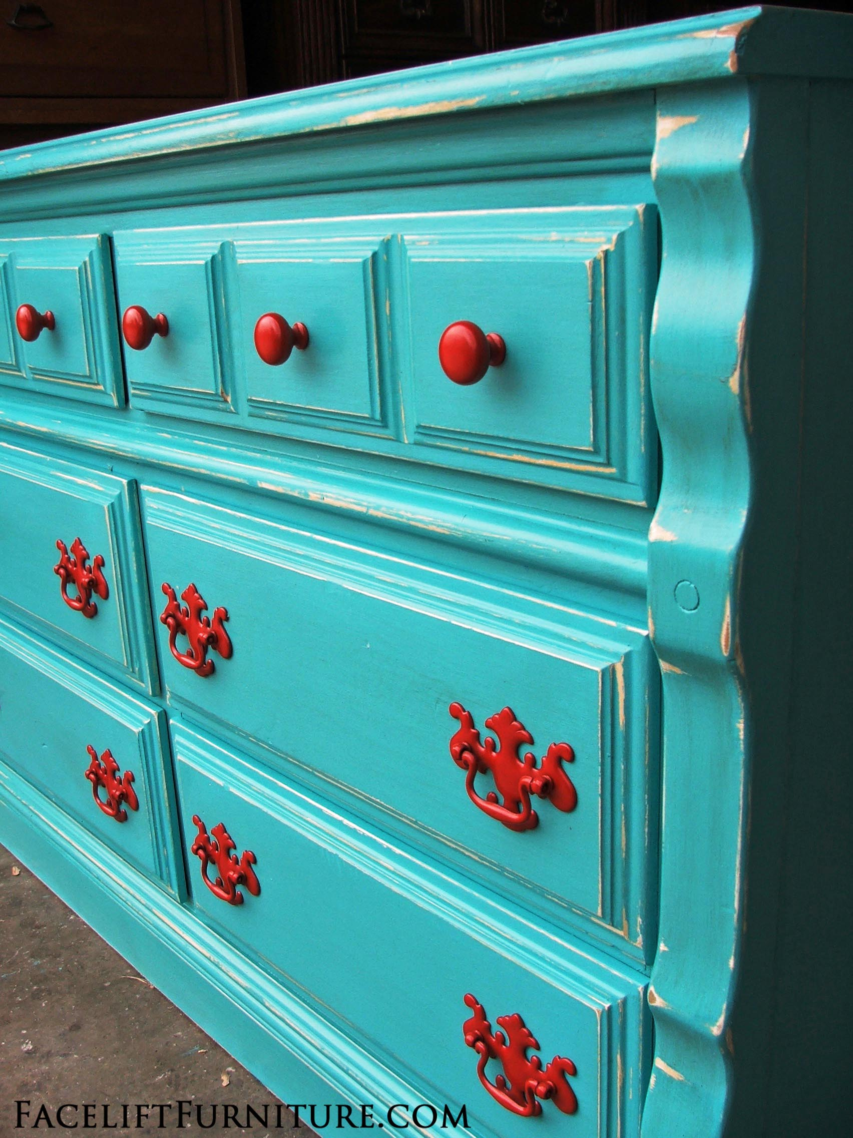 Distressed Turquoise Dresser with Paprika Pulls | Facelift Furniture
