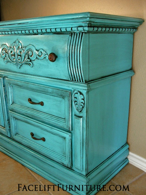Turquoise Dresser Glazed Black - Before & After | Facelift Furniture