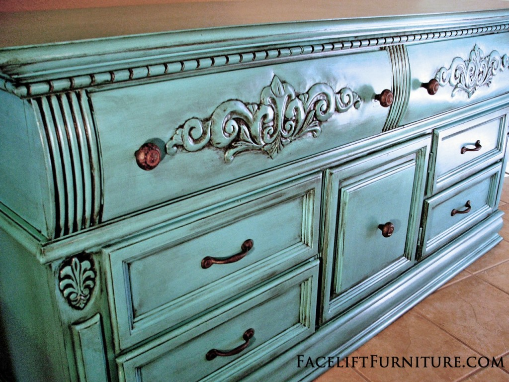 "Ornate Dresser in Turquoise with Black Glaze ~ from Facelift Furniture ~ Create this look on your furniture! Our DIY ebook ""Facelift Your Furniture"" can show you how. Purchase and download for only $10 at www.faceliftyourfurniture.com."