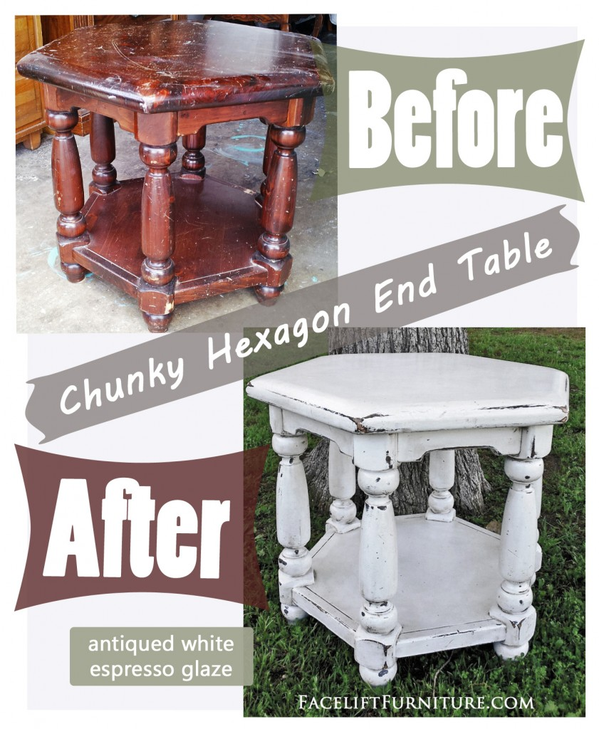 Antiqued White Chunky Hexagon End Table - Facelift Furniture