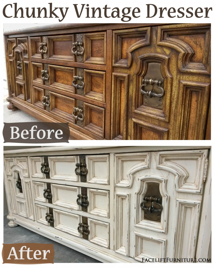 Off White Chunky Vintage Dresser Before Amp After